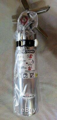 1 lb. (AMEREX) CHROME BC FIRE EXTINGUISHER NEW (2020) CERTIFIED IN BOX