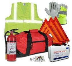 All-in-One DOT OSHA Hi-Viz Fleet Safety Kit with 5lb 3A40BC Fire Extinguisher