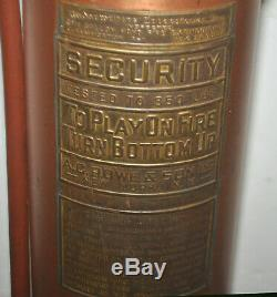 Antique A. C. Rowe & Son New York, NY SECURITY Brass & Copper Fire Extinguisher
