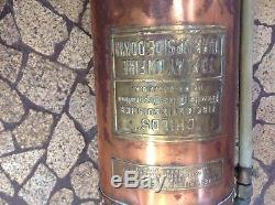 Antique Vintage Childs Copper and Brass Fire Extinguisher Great Condition nice