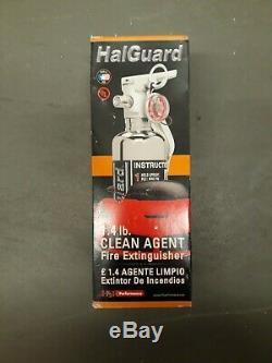 H3R HalGuard Premium Clean Agent Fire Extinguisher, 1.4 lb. Chrome