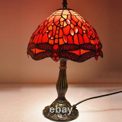 Tiffany Style Antique Dragonfly Design Table Desk Lamp Stained Glass Red Shade