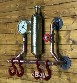 Urban Industrial Steampunk Coat Hook Vintage 1961 Fire Extinguisher, Winch Hooks