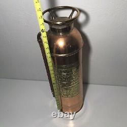 Vintage Empty Polished Brass New York Fire Extinguisher