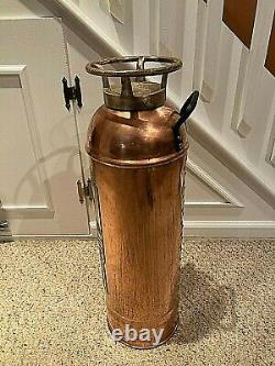 Vintage Empty Semi-Polished Brass New York Fire Extinguisher