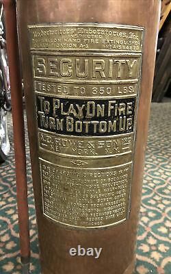 Vintage Full Size Copper Fire Extinguisher. A. C. Rowe & Son New York