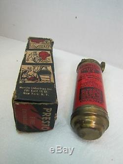 Vintage PRESTO Mini Fire Extinguisher in original box Merlite Ind New York