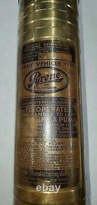 Vintage Pyrene 1 1/2 Qt brass hand pump fire extinguisher Heavy Vehicle Type